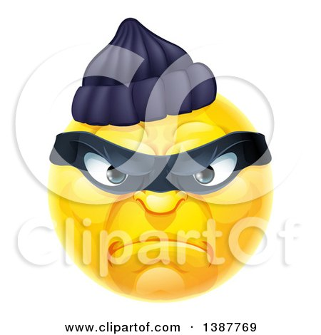 Clipart of a Yellow Smiley Emoji Emoticon Robber - Royalty Free Vector Illustration by AtStockIllustration
