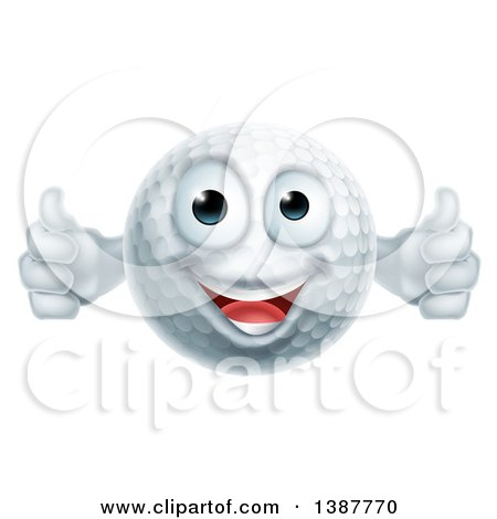 Clipart Of A Cartoon Happy Golf Ball Character Giving Two Thumbs Up Royalty Free Vector Illustration