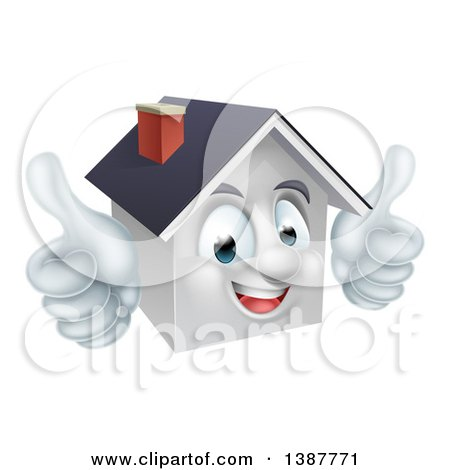 Clipart of a Cartoon Happy White Home Mascot Giving Two Thumbs up - Royalty Free Vector Illustration by AtStockIllustration