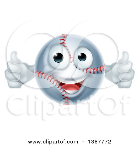 Clipart of a Cartoon Happy Baseball Character Giving Two Thumbs up - Royalty Free Vector Illustration by AtStockIllustration