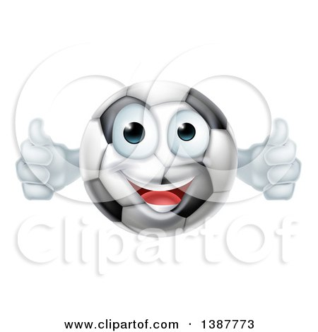 Clipart of a Cartoon Happy Soccer Ball Character Giving Two Thumbs up - Royalty Free Vector Illustration by AtStockIllustration