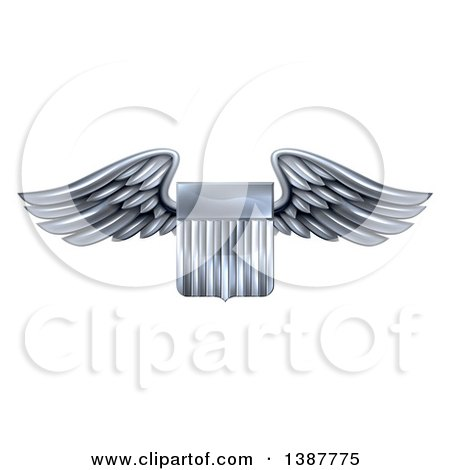 Clipart of a 3d Steel Metal Heraldic Winged Shield - Royalty Free Vector Illustration by AtStockIllustration