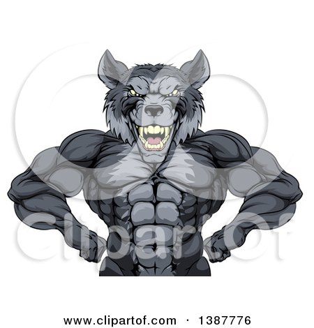 Clipart of a Muscular Gray Wolf Man Mascot Flexing, from the Waist up - Royalty Free Vector Illustration by AtStockIllustration