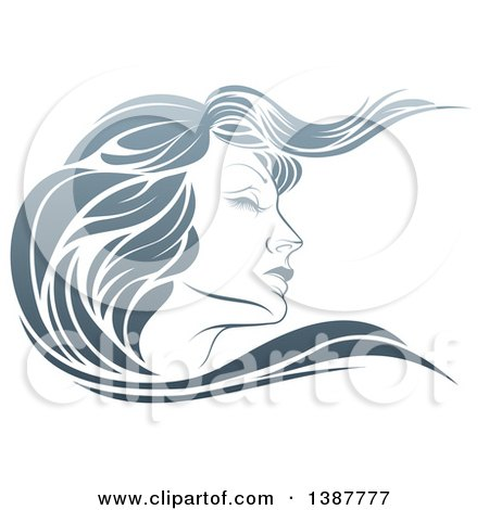 Clipart of a Gradient Beatiful Woman's Face in Profile, with Long Hair Waving - Royalty Free Vector Illustration by AtStockIllustration