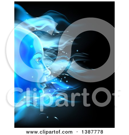 Clipart Of A Blue Ice Or Fire Female Face Over Black Royalty Free Vector Illustration