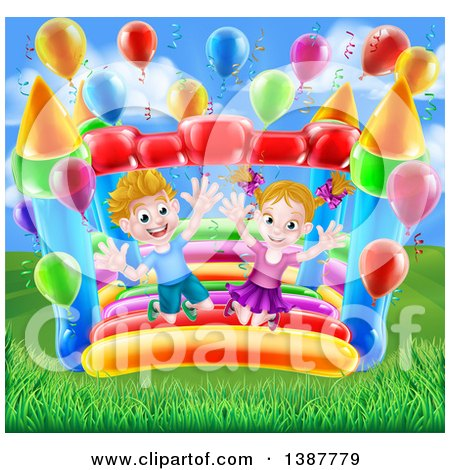 Clipart of a Cartoon Happy White Boy and Girl Jumping on a Bouncy House Castle in a Park, with Party Balloons - Royalty Free Vector Illustration by AtStockIllustration