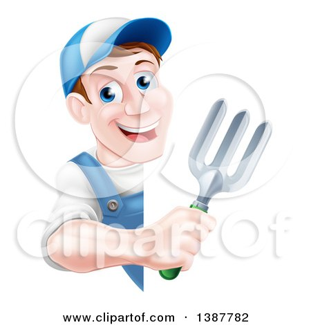 Clipart of a Happy Middle Aged Brunette White Male Gardener in Blue, Holding a Garden Fork Around a Sign - Royalty Free Vector Illustration by AtStockIllustration