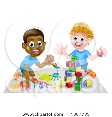 Clipart of Cartoon Happy White and Black Boys Painting and Playing with Blocks - Royalty Free Vector Illustration by AtStockIllustration