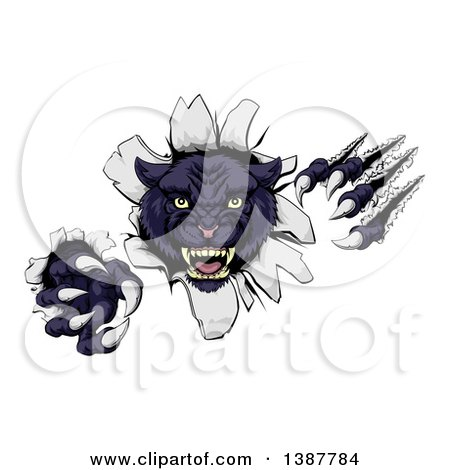 Clipart of a Vicious Black Panther Shredding Through a Wall - Royalty Free Vector Illustration by AtStockIllustration