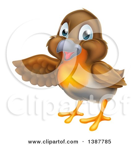 Clipart of a Happy Robin Bird Presenting to the Left - Royalty Free Vector Illustration by AtStockIllustration