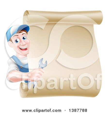 Clipart of a Happy Middle Aged Brunette Caucasian Mechanic Man in Blue, Holding a Wrench and Looking Around a Blank Scroll Sign - Royalty Free Vector Illustration by AtStockIllustration