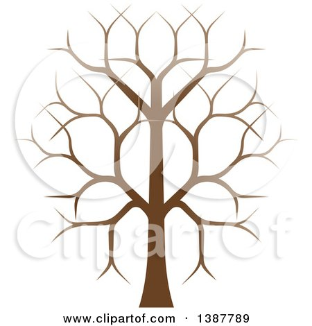 Clipart Of A Gradient Brown Bare Tree Royalty Free Vector Illustration