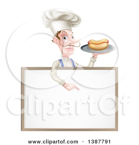 Clipart of a White Male Chef with a Curling Mustache, Holding a Hot Dog on a Platter and Pointing down over a White Menu Board Sign - Royalty Free Vector Illustration by AtStockIllustration
