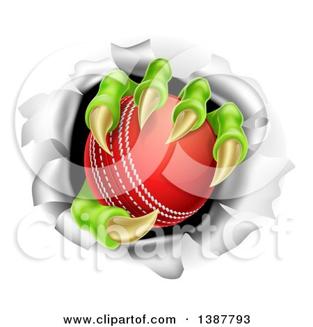 Clipart of Monster Claws Holding a Cricket Ball and Ripping Through a Wall - Royalty Free Vector Illustration by AtStockIllustration