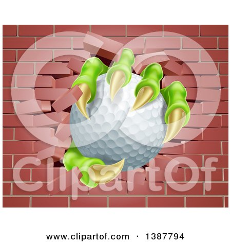 Clipart of Monster Claws Holding a Golf Ball and Breaking Through a Brick Wall - Royalty Free Vector Illustration by AtStockIllustration