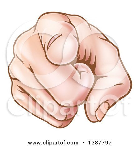 Clipart of a Caucasian Hand Pointing Outwards - Royalty Free Vector Illustration by AtStockIllustration
