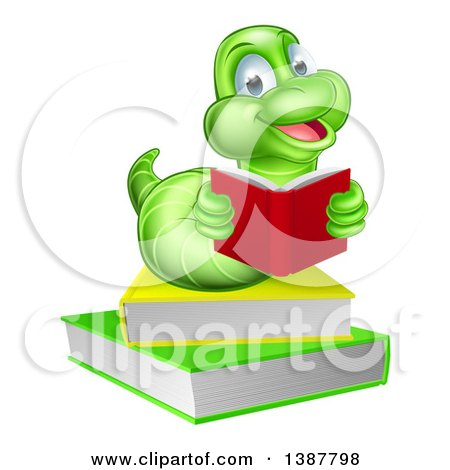 Clipart of a Happy Green Earthworm Reading a Book on a Stack - Royalty Free Vector Illustration by AtStockIllustration