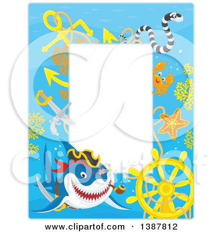 Clipart of a Vertical Background Border Frame of a Pirate Shark with a Sunken Ship Helm and Text Space - Royalty Free Vector Illustration by Alex Bannykh