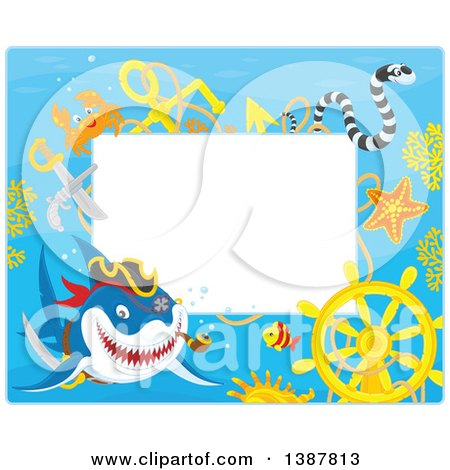 Clipart of a Horizontal Background Border Frame of a Pirate Shark with a Sunken Ship Helm and Text Space - Royalty Free Vector Illustration by Alex Bannykh
