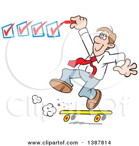 Clipart of a Happy White Business Man on a Roll, Getting It Done and Checking off His to Do List - Royalty Free Vector Illustration by Johnny Sajem