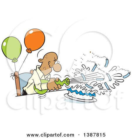 Clipart of a Cartoon Bald Senior Black Man Blowing out His Birthday Cake Candles, Where Theres a Will Theres a Way - Royalty Free Vector Illustration by Johnny Sajem