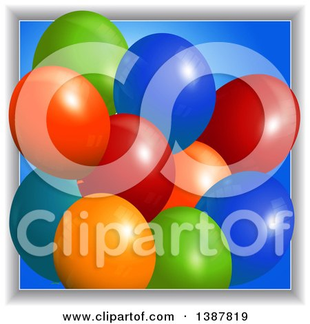 Clipart of 3d Colorful Party Balloons over Blue, Emerging from a Frame - Royalty Free Vector Illustration by elaineitalia