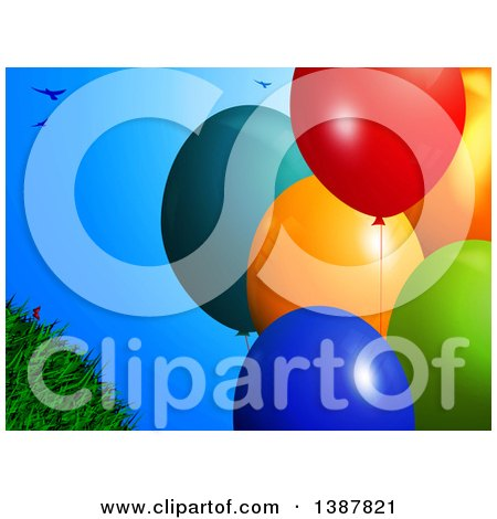 Clipart of 3d Colorful Party Balloons over Blue Sky, with Birds and Grass - Royalty Free Vector Illustration by elaineitalia