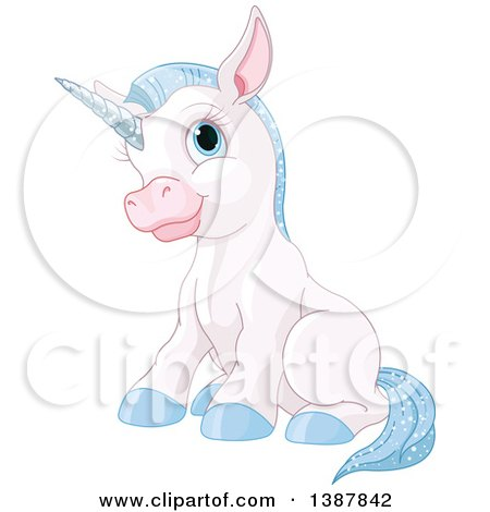 Clipart of a Cute White Baby Unicorn with Blue Hair, Sitting - Royalty Free Vector Illustration by Pushkin