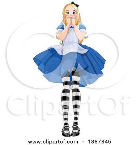 Clipart of a Worried Giant Alice in Wonderland - Royalty Free Vector Illustration by Pushkin
