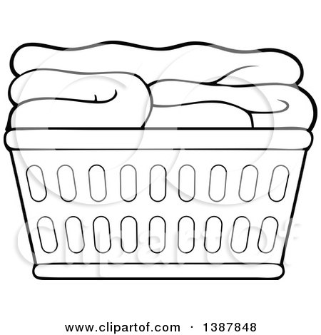 Clipart Of A Cartoon Black And White Lineart Laundry
