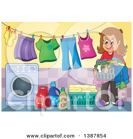 Clipart of a Happy Brunette White Woman by a Clothes Line with Laundry Air Drying - Royalty Free Vector Illustration by visekart