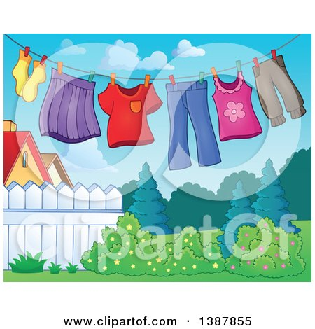 Clipart of a Clothes Line with Laundry Air Drying in a Yard - Royalty Free Vector Illustration by visekart