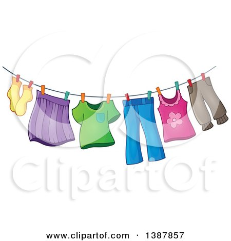 Clipart of a Clothes Line with Laundry Air Drying - Royalty Free Vector Illustration by visekart