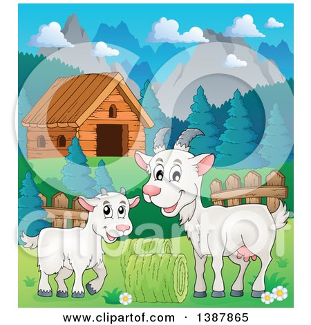 Clipart of a Cartoon Happy White Goat and Kid near a Cabin in a Barnyard - Royalty Free Vector Illustration by visekart