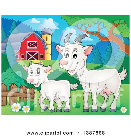 Clipart Of A Cartoon Happy White Goat And Kid In Barnyard