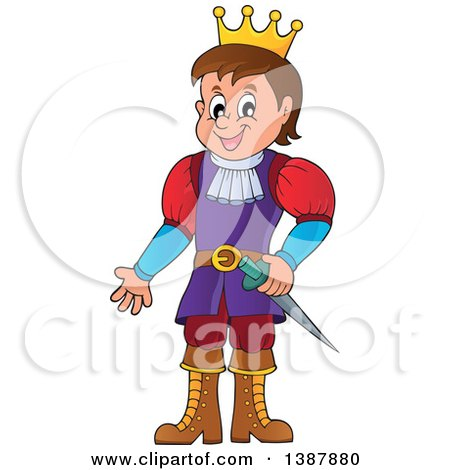 Clipart of a Cartoon Happy White Prince - Royalty Free Vector Illustration by visekart