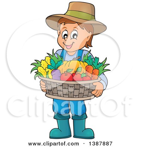 Clipart of a Cartoon Happy Brunette White Male Farmer Holding a Basket of Harvest Produce - Royalty Free Vector Illustration by visekart