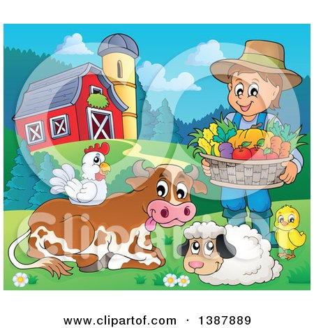 Clipart of a Cartoon Happy Brunette White Male Farmer Holding a Basket of Harvest Produce by Livestock in a Barnyard - Royalty Free Vector Illustration by visekart