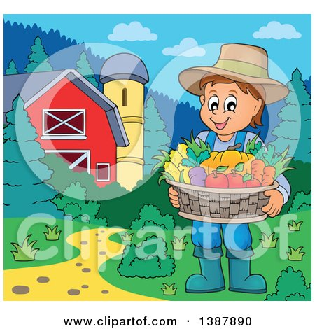 Clipart of a Cartoon Happy Brunette White Male Farmer Holding a Basket of Harvest Produce in a Barnyard - Royalty Free Vector Illustration by visekart