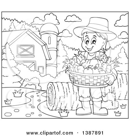 Clipart of a Cartoon Black and White Lineart Male Farmer Holding a Basket of Harvest Produce in a Barnyard - Royalty Free Vector Illustration by visekart