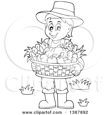 Clipart of a Cartoon Black and White Lineart Male Farmer Holding a Basket of Harvest Produce - Royalty Free Vector Illustration by visekart