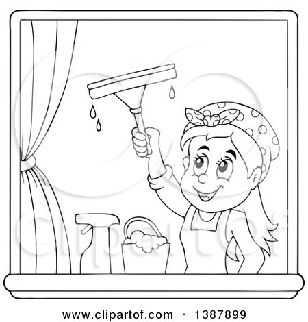 Clipart of a Cartoon Black and White Lineart Woman Washing Windows - Royalty Free Vector Illustration by visekart