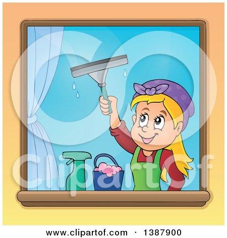 Cartoon Happy Blond White Woman Washing Windows Posters, Art Prints