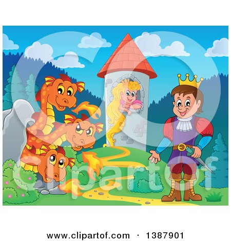 Clipart of a Three Headed Orange Fire Breathing Dragon Guarding a Princess in a Tower Against a Prince - Royalty Free Vector Illustration by visekart