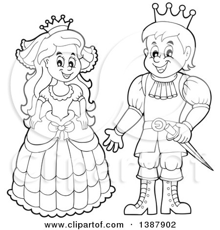 Clipart of a Cartoon Happy Black and White Princess and Prince - Royalty Free Vector Illustration by visekart