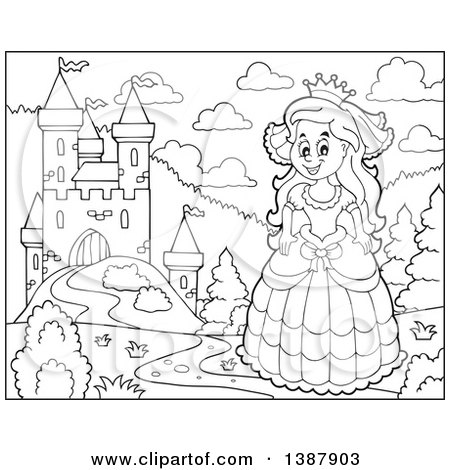 Clipart of a Black and White Lineart Happy Princess near a Castle - Royalty Free Vector Illustration by visekart