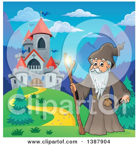 Clipart of a Cartoon Senior Druid Man Holding a Glowing Magic Stick by a Castle - Royalty Free Vector Illustration by visekart