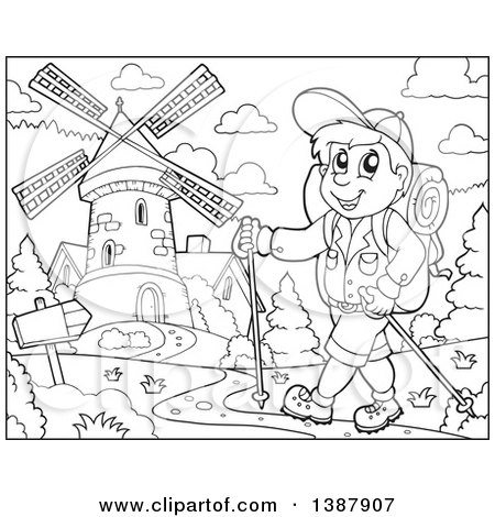 Clipart of a Black and White Lineart Happy Male Hiker Walking near a Windmill - Royalty Free Vector Illustration by visekart