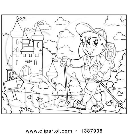 Clipart of a Black and White Lineart Happy Male Hiker Walking near a Castle - Royalty Free Vector Illustration by visekart
