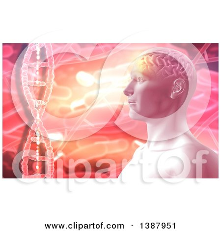 Clipart of a 3d Male Human Head over Bacteria and Dna Strands in Orange and Pink Tones - Royalty Free Illustration by KJ Pargeter